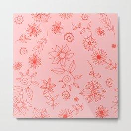 Sweet whirling flowerbed pattern - dark coral on rose Metal Print