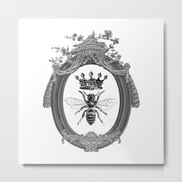 Queen Bee   Vintage Bee with Crown   Black, White and Grey   Metal Print