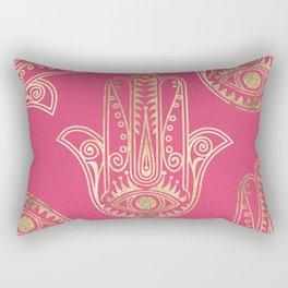 Neon pink faux gold inspirational Hamsa hand of Fatima Rectangular Pillow