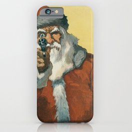 Funny Santa Claus with a Christmas Gun iPhone Case
