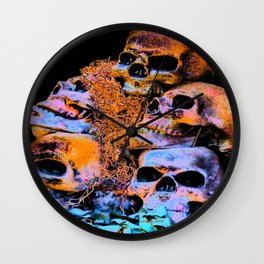 Skulls 2 By Annie Zeno Wall Clock