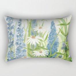 Watercolor Botanical Garden Flower Wildflower Blue Flower Garden Rectangular Pillow