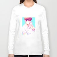 shinee Long Sleeve T-shirts featuring Minho & Kitten by sophillustration