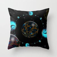 starry night Throw Pillows featuring Starry Starry Night by inkedsandra
