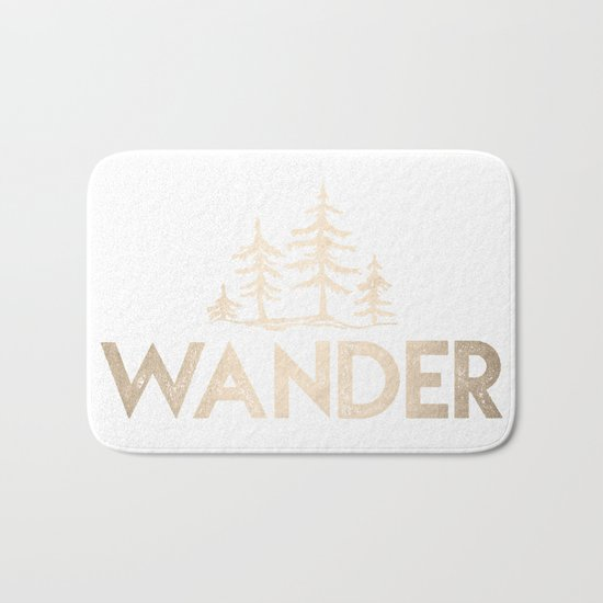 Wander Quote White Gold Bath Mat