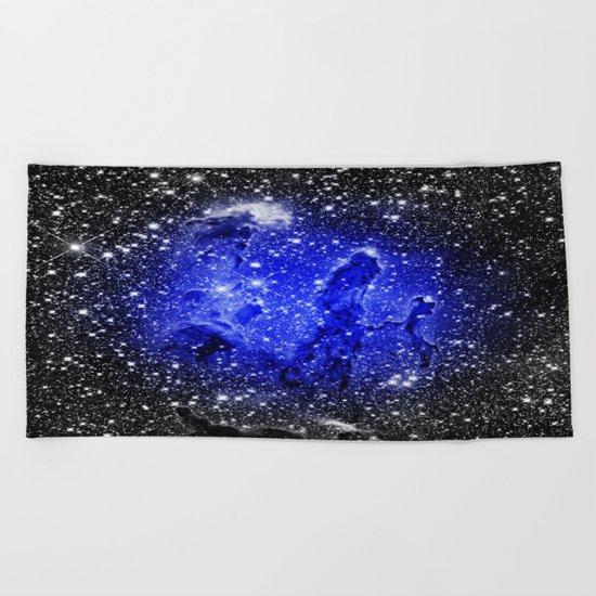 Galaxy : Pillars of Creation Blue Beach Towel
