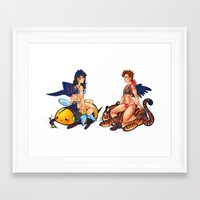 destiel Framed Art Prints featuring destiel pinup by cynamon