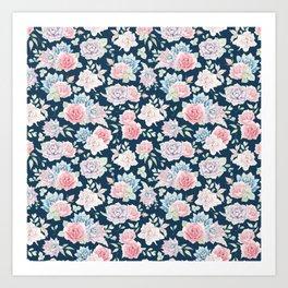 Navy blue blush pink lavender cactus floral pattern Art Print