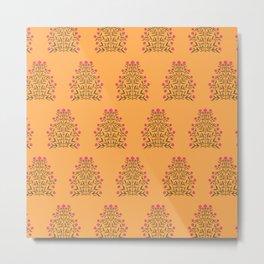 Indian Floral Motif Pattern - Pink & Saffron Metal Print