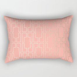Simply Mid-Century in White Gold Sands on Salmon Pink Rectangular Pillow