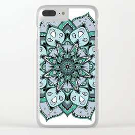 Mandala green stars By Sonia H. Clear iPhone Case