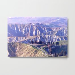 Tuscany mountains and farms Metal Print