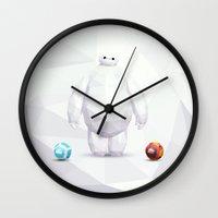 big hero 6 Wall Clocks featuring Big Hero 6 - BAYMAX by Dominika G