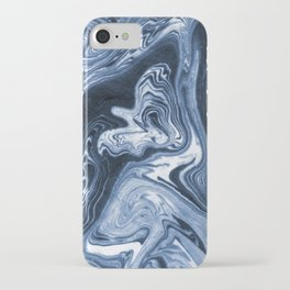 Ren - indigo ink india ink marble pattern texture art print cell phone case with marble blue joy iPhone Case