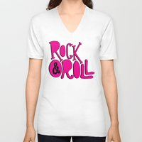 rock and roll V-neck T-shirts featuring Rock & Roll by Chelsea Herrick