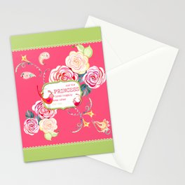 Princess Happily Ever After Modern Birds Floral  Stationery Cards