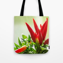 Chili peppers on the vine Tote Bag