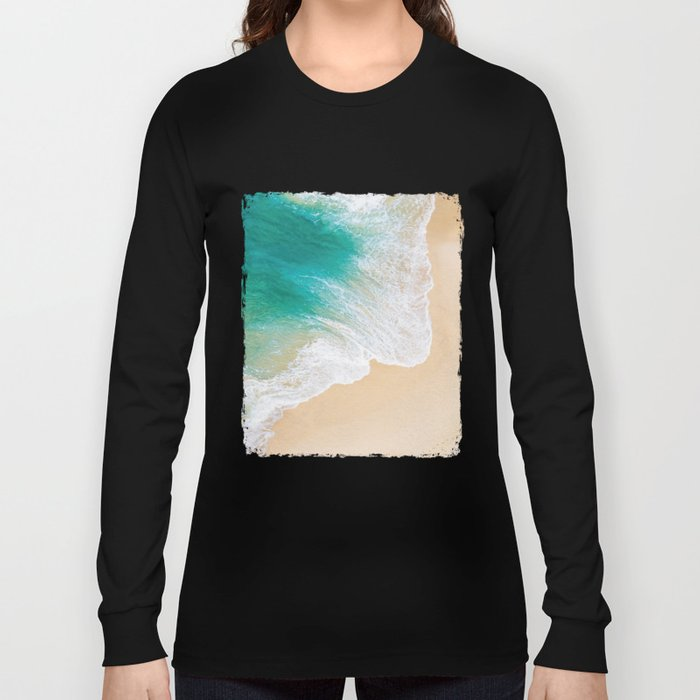 Sand Beach - Waves - Drone View Photography Long Sleeve T-shirt