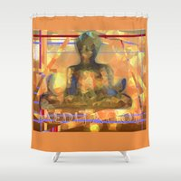 meditation Shower Curtains featuring Meditation by Paola Canti