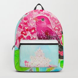 Strawberry Finch & Hydrangeas Backpack