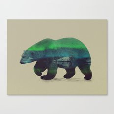 Polar Bear in Northern Lights Canvas Print
