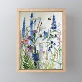 Wildflower in Garden Watercolor Flower Illustration Painting Framed Mini Art Print