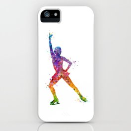 Ice Skating Girl 2 Colorful Watercolor Art iPhone Case