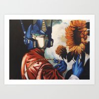 optimus prime Art Prints featuring Optimus Prime With Sunflower by Hillary White