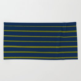Slate Blue and Antique Green Gold Stripes Beach Towel