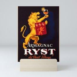 Vintage 1945 French Armagnac Ryst Cognac Advertisement Poster Mini Art Print