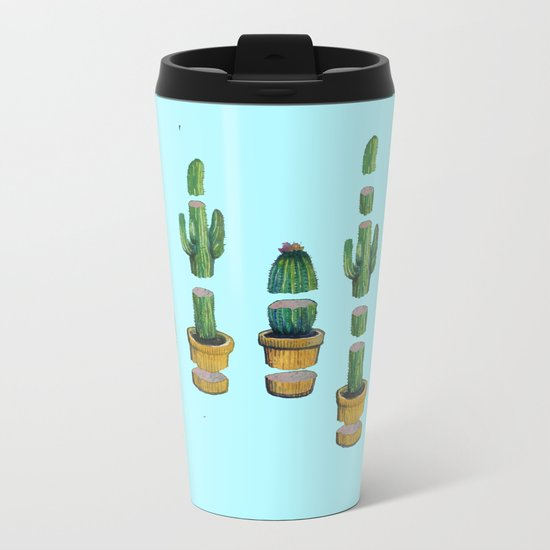cut cactus on blue Metal Travel Mug