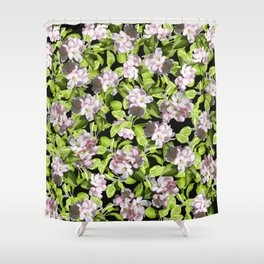Apple Blossoms, Spring Flower, Springtime, Floral, Botanical, Pink Flowers Shower Curtain