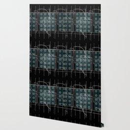 Black Green Grey Digital Daisy Abstract Wallpaper