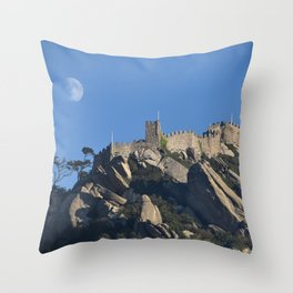 Magical Full Moon above the Castle of the Moors, Portugal Throw Pillow