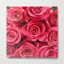 Cherry Crimson Red Rose Luxurious Floral Bouquet Metal Print