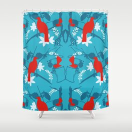 NZ Native Red Kereru (Wood Pigeon) and Fantail on Blue Shower Curtain