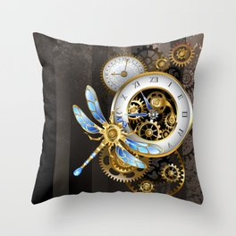 Dials with Dragonfly ( Steampunk ) Throw Pillow