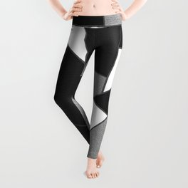 Silver Gray Black White Geometric Glam #1 #geo #decor #art #society6 Leggings