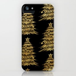 Gold Christmas Tree On Black Christmas Pattern iPhone Case