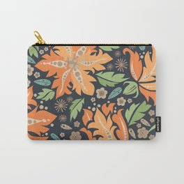 Cora Flora_ Orange and Slate Blue Carry-All Pouch