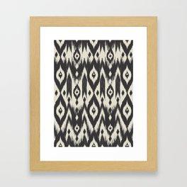 Black & Cream Tribal Ikat Framed Art Print