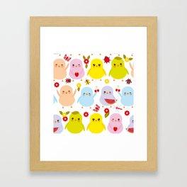 Kawaii colorful blue green orange pink yellow chick Framed Art Print