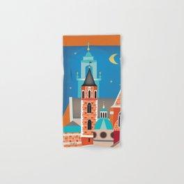 Krakow, Poland - Skyline Illustration by Loose Petals Hand & Bath Towel
