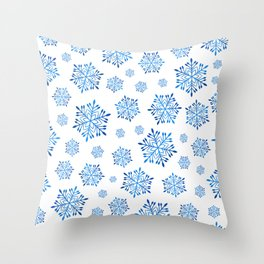 Blue winter pattern with snowflakes Throw Pillow