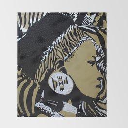 Zulu girl with zebra print 4 Throw Blanket