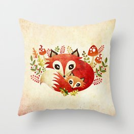 Fox Mom & Pup Throw Pillow