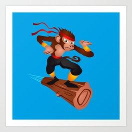 Monkey Ninja flying Art Print