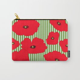 Red Poppies - Stripes Carry-All Pouch