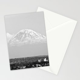 Hovering Mt Rainier in Mono Stationery Cards