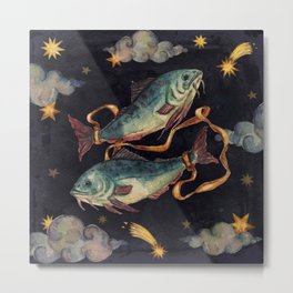 Zodiac sign Pisces Metal Print